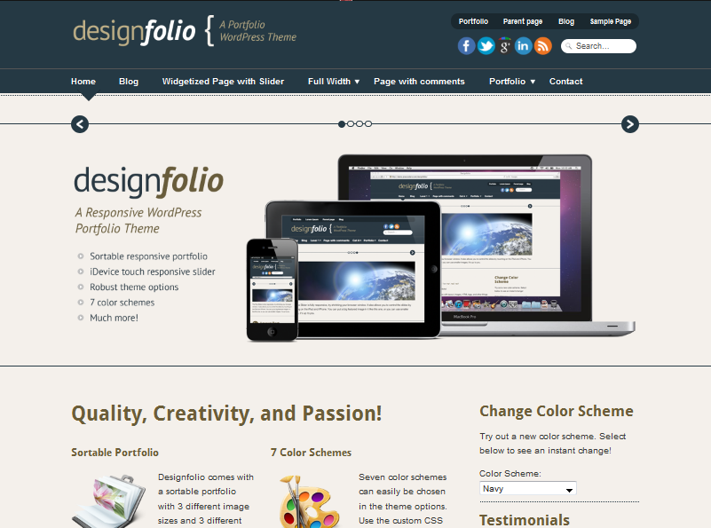 designfolio wordpress portfolio theme